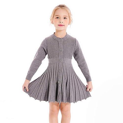 d387050f14 SMILING PINKER Little Girls Pleated Dress School Uniform Long Sleeve Button  Front Knit Sweater Dress