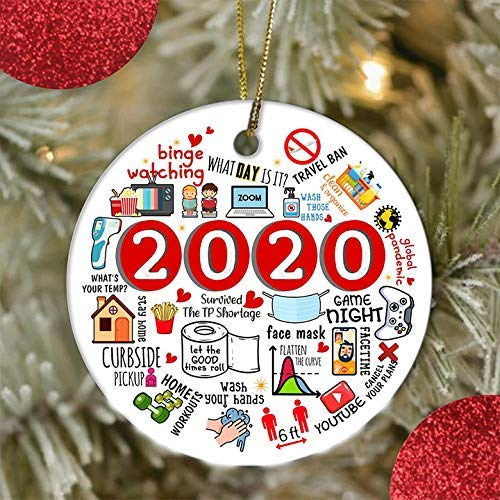 2020 Quarantine Christmas Ornament, Personalized Christmas Tree Ornaments Christmas Decorations Creative Gift Pendant for Home Indoor Decor