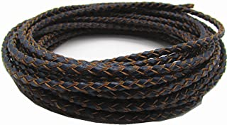 3.0mm Round Folded Bolo PU Braided Leather Cord for Necklace Bracelet Jewelry Making 5M (Navy Blue)
