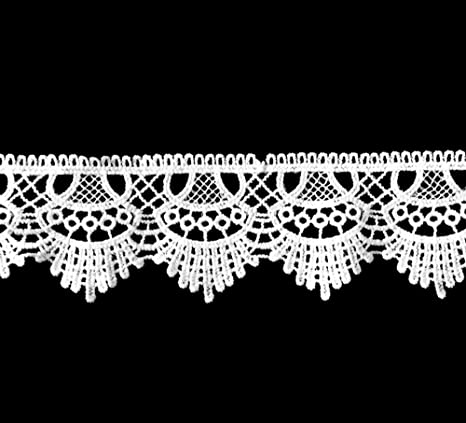 selling by the yard Good Quality = White with Pink 5//8 inch wide Lace trim