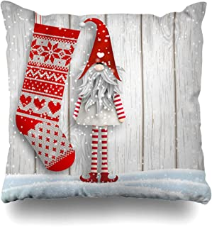 Ahawoso Throw Pillow Cover Graphic Red Beard Scandinavian Christmas Motive Tomte Standing Folklore Front Holidays Board Cap Decorative Pillow Case 18x18 Inches Square Home Decor Pillowcase