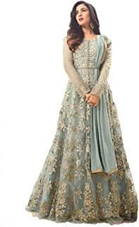 Ultimate Ecommerce Women's Grey net Fashionable Semi-Stitchedi Salwar Suit (Ultimate_UE11091_Grey_Free Size)