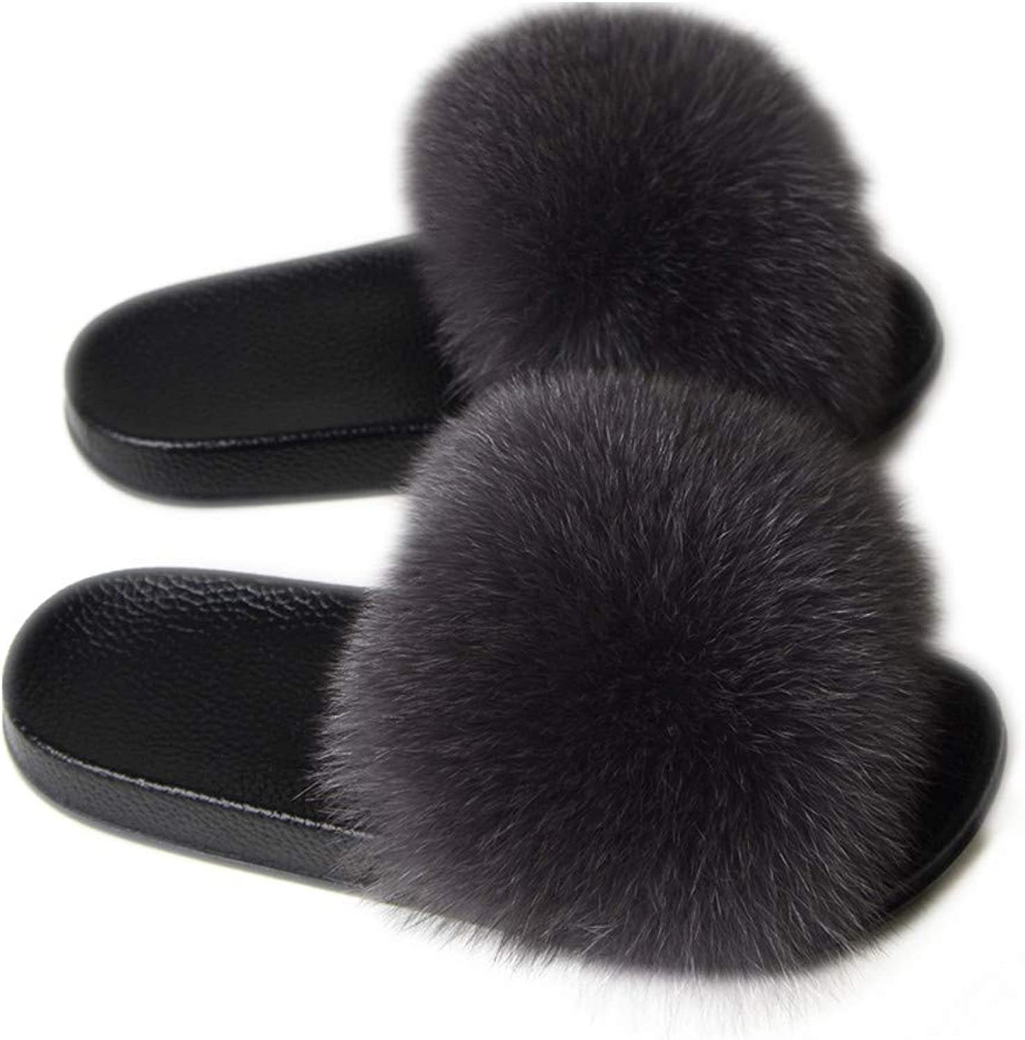 LSWJS Open Toe Real Fur Slippers Women Slides Flat shoes Fur Feather Sandals