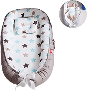 YUELAI Baby Lounger Bed Multifunctional Newborn Breathable Nest  Portable Bassinet Sleeping Removable Cover with Super Soft Organic Cotton  Crib for Bedroom Travel  0-24 Months  brown