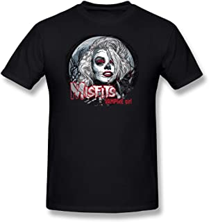 Cotton Youth Men's Fashion Short Sleeves T Shirt Tops Misfits Vampire Girl Black
