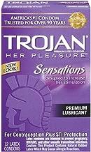 Trojan Her Pleasure Lubricated Premium Latex Condoms 12 ct (Quantity of 3)