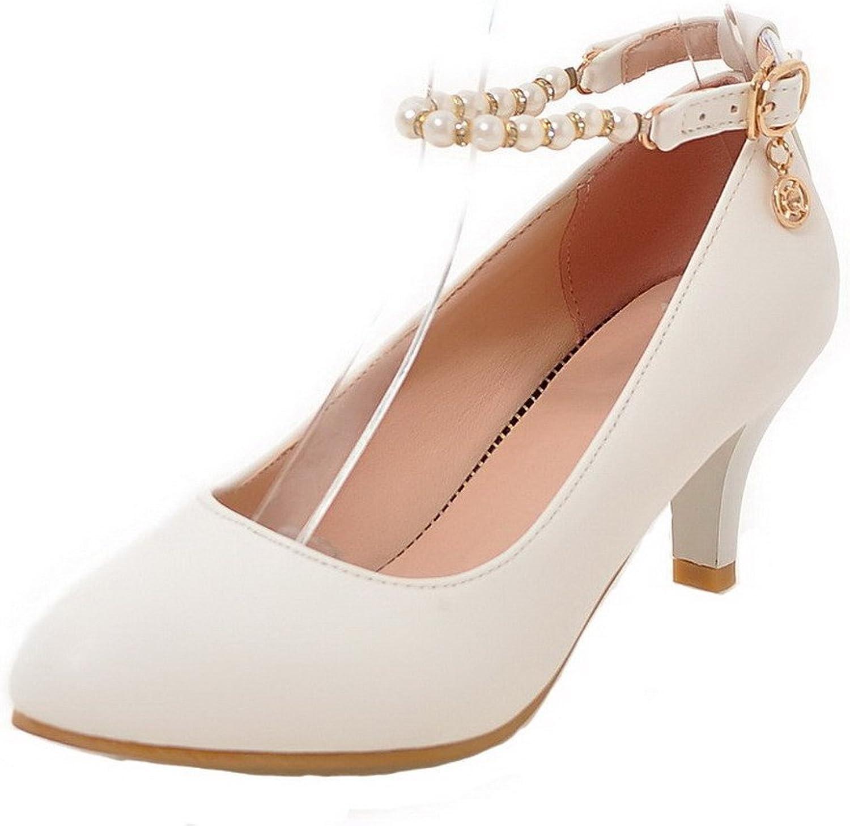 WeiPoot Women's PU Kitten-Heels Buckle Solid Round-Toe Pumps-shoes