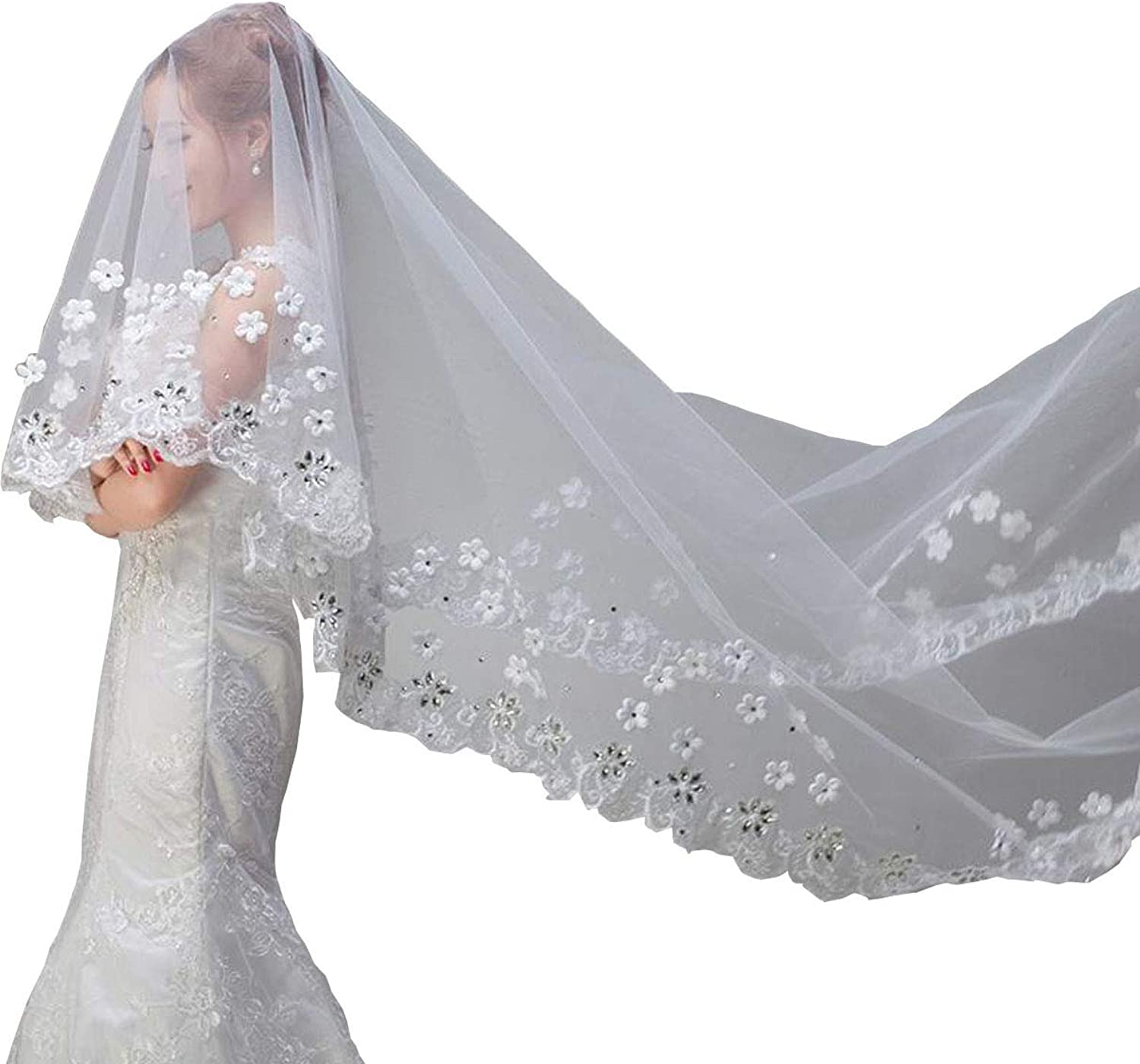 Newdeve Wedding Veil Cathedral Length White 2 Tier Lace Applique bluesher with Comb