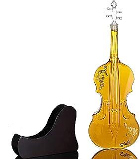 バイオリン型ガラス瓶中空ギターガラスデカンターボトル、ウォッカ、テキーラ、ワイン、カクテル、ウイスキー酒類メガネセットガラス瓶ギフト 1000ml