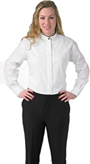 Premium Women's White Dress Blouse Shirt Banded French Mandarin Collar with Black Piping