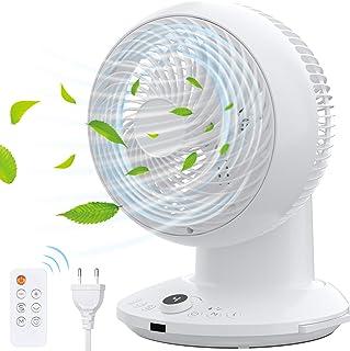 Ventilateur de Circulation,Ventilateur Silencieux avec Télécommande Mode 3D Oscillation 360°- 4 Vitesses- Minuterie 8h Tur...