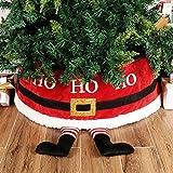 YHNJI Collar de árbol de Navidad, falda de árbol de Navidad en 3D, bonito pie de Papá Noel, anillo de caja para árbol de Navidad, decoración de feliz fiesta