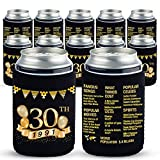 Yangmics 30th Birthday Can Cooler Sleeves Pack of 12-1991 Sign -30th Anniversary Decorations - Dirty 30th Birthday Party Supplies - Black and Gold Thirtieth Birthday Cup Coolers