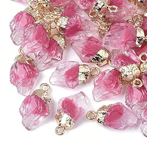 50 colgantes de resina con piedras preciosas de imitación de cuarzo con casquillo chapado en oro para hacer joyas y manualidades