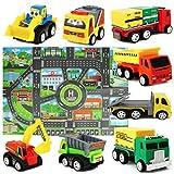 Sanlebi Mini Modèle de Voiture Ensemble de Jouets de camions avec Tapis de Jeu pour Les Enfants Garcon 3 Ans
