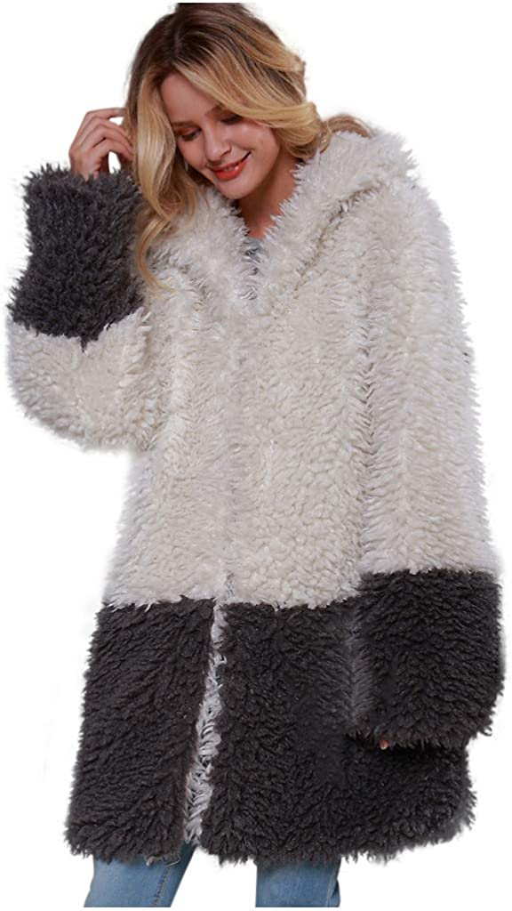 Women's Long Sleeve Faux Fur Black and White Stitching Color Loose Lapel Coat Outerwear Autumn/Winter