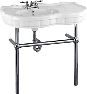 Renovator's Supply Console Sink White Porcelain Vitreous China Southern Belle With Black Nickel Support Bistro Legs