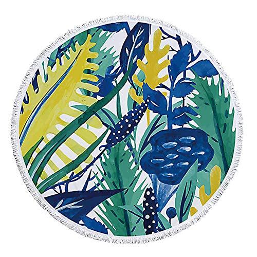 Huien zomer blad ronde strandlaken met kwastje zwemmen badhanddoek bikini bedekken sprei tapijt yoga picknick mat 150cm, 11