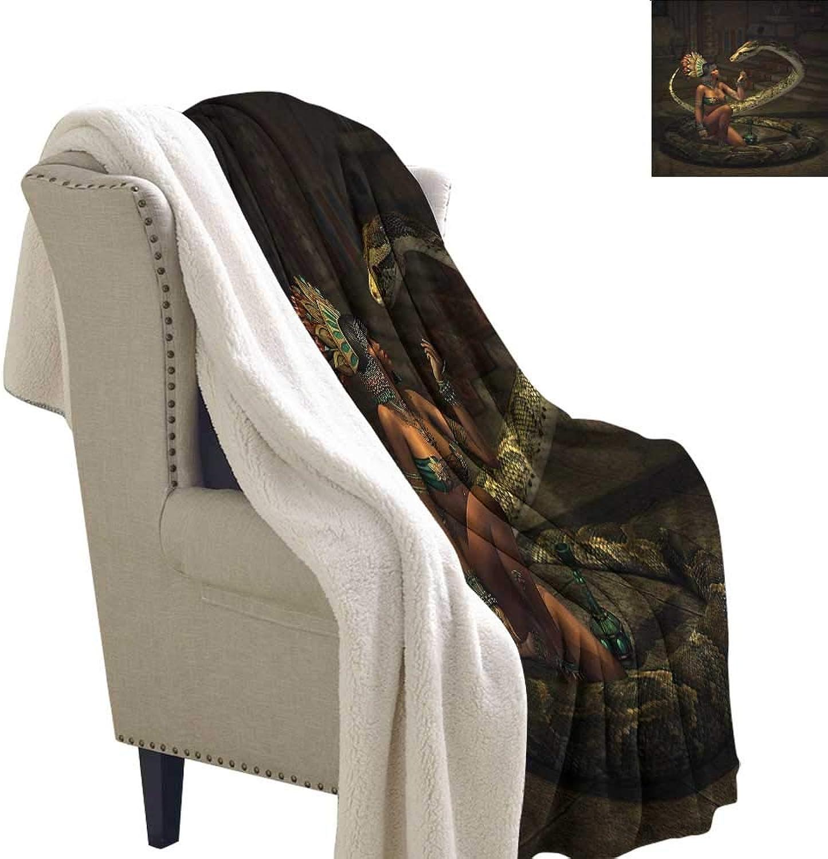 Fantasy Flannel Bed Blankets Mystery Girl Huge Snake Microfiber Blanket 60x32 Inch