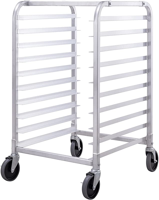 Giantex 10 Tier Aluminum Bakery Rack Home Commercial Kitchen Bun Pan Sheet Rack Mobile Sheet Pan Racking Trolley Storage Cooling Rack W Lockable Casters