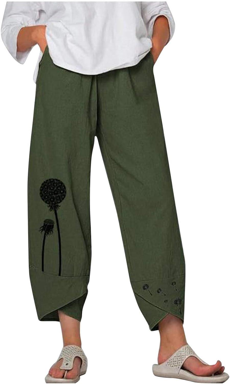 MASZONE Capri Pants for Women Plus Size Harem Pajama Wide Leg Pants Casual Cropped Pants Baggy Trousers with Pockets