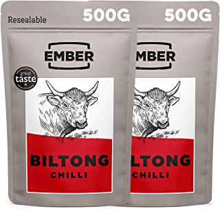 Ember Snacks - Biltong-Snack aus britischem und irischem Rindfleisch - hoher Eiweißgehalt - Chili-Geschmacksrichtung - 1 kg-Partypackung