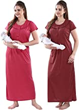 Fashigo Textured Maternity Nighty for Women Feeding, Concealed Zip, Nursing Nighty - Pack of 2