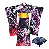 Hell Girls Enma Ai Sakura Kimono Suit Mujer Anime Cosplay Disfraz Vestido Tradicional Japonés con Peluca y Abanico Plegable Set Regalo para Halloween