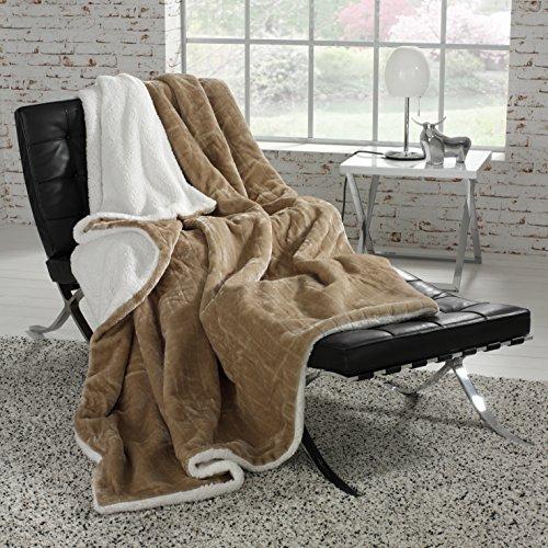 Plaid Couvre-lit 220 x 180 cm taupe marron intérieur imitation peau de mouton (HB)