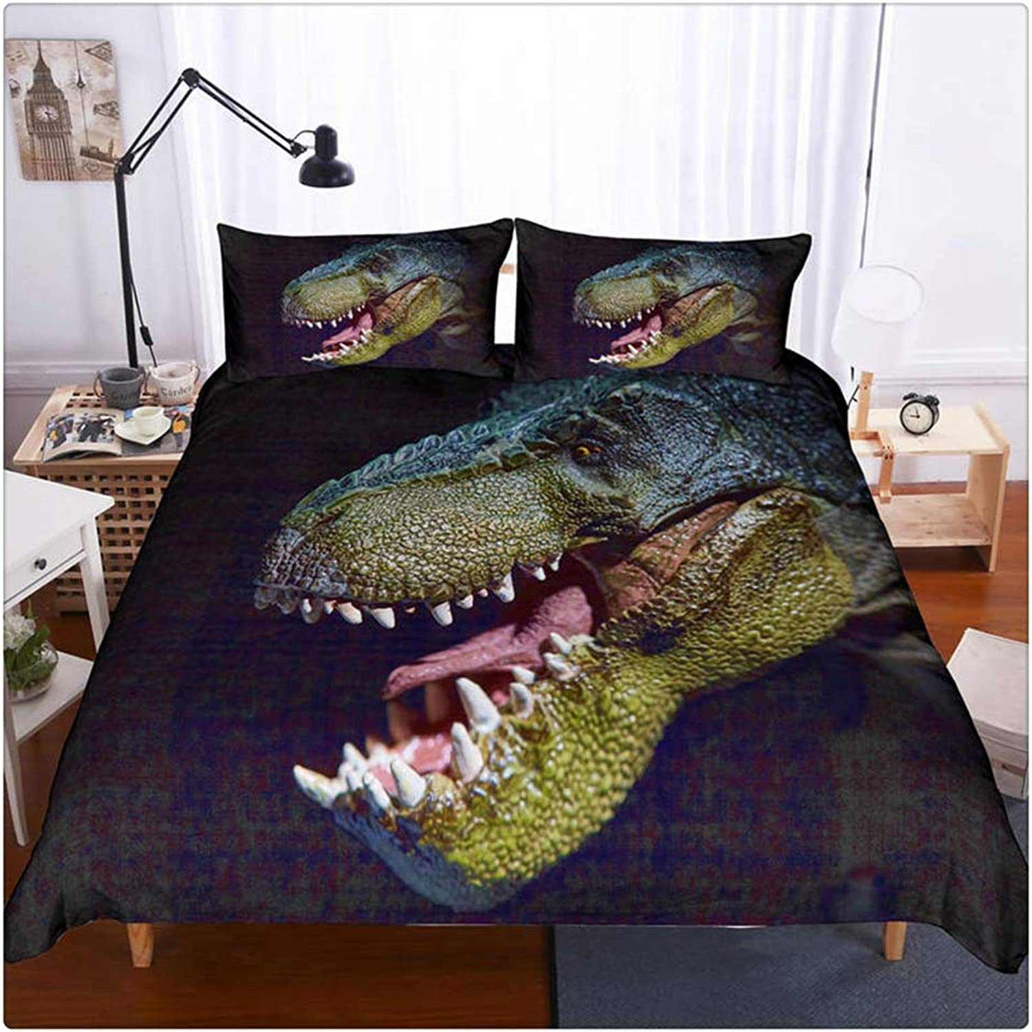 3D Dinosaur World Bedding Sets 2 Pieces Jurassic Duvet Quilt Cover Set for Kids Boys Teens, Twin Size