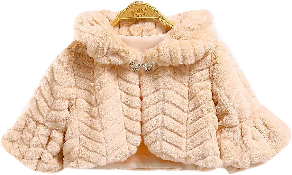 LeJulyeekay Girl's Faux fur Capelet Long Sleeve Bolero Jacket Coat Winter Shawl