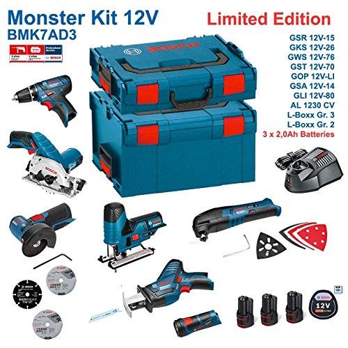 BOSCH Kit 12V BMK7AD3 (GSR 12V-15 + GKS 12V-26 + GWS 12V-76 + GST 12V-70 + GOP 12V-LI + GSA 12V-14 + GLI 12V-80 + 3 x 2,0Ah + AL1230CV + L-Boxx 238 + L-Boxx 136)