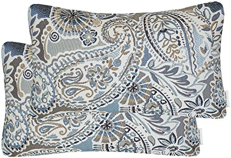 Best Mika Home Pack of 2 Oblong Rectangular Throw Pillow Cover Cushion Cases for Sofa Couch Chair,Paisley