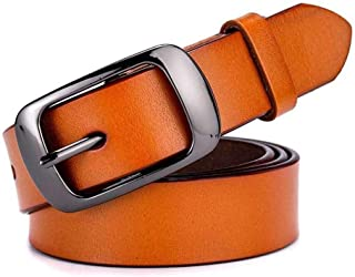 LUKEEXIN Women's Vintage Pin Buckle Leather Belt, Casual Fashion Decorative Wide Belt (Color : Brown)