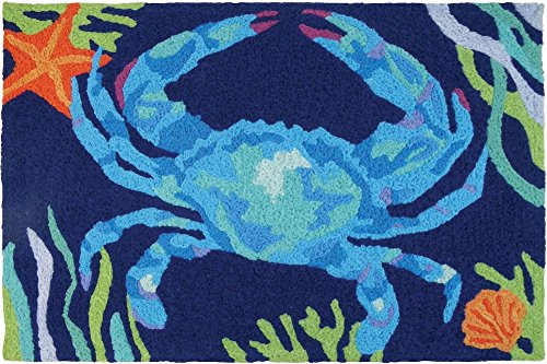 "Jellybean Deep Blue Crab Coastal Indoor/Outdoor Machine Washable 21"" x 33"" Accent Rug"