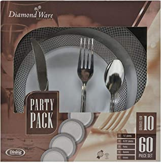 Plastic Party Pack - Service for 10 | White/Silver | Pack of 60