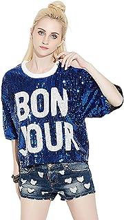 fc7ce24f9499f Bmeigo Dames Paillette T-Shirt 3/4 Hauts de Manches Imprimé des Lettres Hip