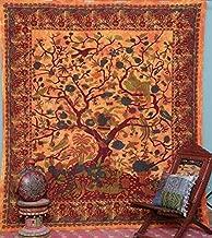 GDONLINE Orange Color Indian Mandala Tapestry Tree of Life Tapestry Tie Dye Bedspread Blossom Bird Print Tapestry Dorm Decor Bohemian Tapestry Boho Tapestries Mandala Throw Bedspread