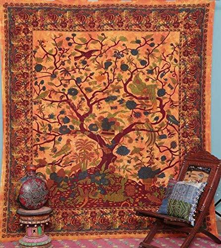 GDONLINE - Tapiz con diseño de Mandala Indio de Color Naranja con Estampado de árbol de la Vida, Tapiz Bohemio para decoración de recámara, Tapiz Bohemio, Tapiz Bohemio, Colcha de Mandala