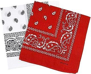 2Pcs bandanafacemask 100% Cotton Paisley Print Handkerchiefs Wristband Cowboy Neckerchief Head Wrap Face Mask