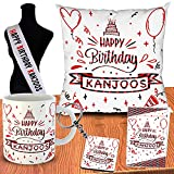 Suitable For Birthday Gifts Wish Your Kanjoos Friends or Family Memberes With This Unique Gifts Set Best Way to Tease on Their Birthday Package Contain 1 Cushion Cover With Filler, 1 Mug , 1 Greeting Card, 1 Key Chain, 1 Sash Printed With Happy Birth...
