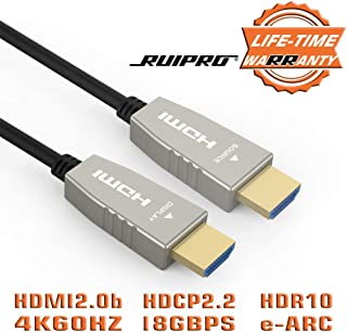 Fiber HDMI Cable RUIPRO 4K60HZ 33 feet Light Speed HDMI2.0b Cable, Supports 18.2 Gbps, ARC, HDR10, Dolby Vision, HDCP2.2, 4:4:4, Ultra Slim and Flexible HDMI Optic Cable with Optic Technology 10m
