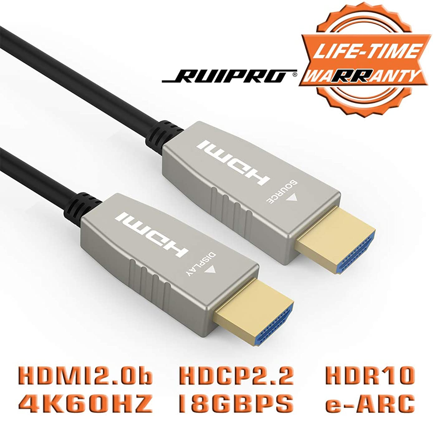 Fiber HDMI Cable RUIPRO 4K60HZ HDR 40 feet Light Speed HDMI2.0b Cable, Supports 18.2 Gbps, ARC, HDR10, Dolby Vision, HDCP2.2, 4:4:4, Ultra Slim and Flexible HDMI Optic Cable with Optic Technology 12m