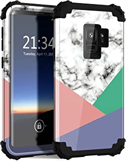 Hocase Galaxy S9 Case with Marble Design, Heavy Duty Shockproof Protection Anti-Scratch Plastic Hard Shell+Silicone Rubber Phone Case for Samsung Galaxy S9 - Gloss Marble / 3-Color