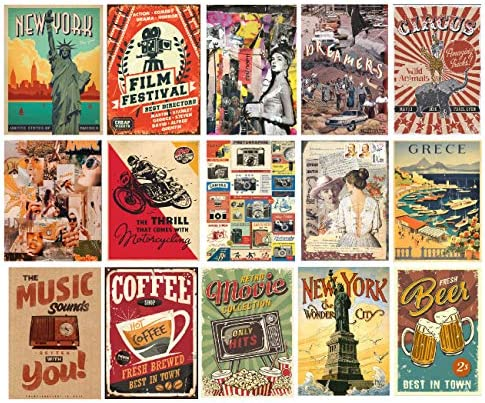 HK Studio Retro Stickers Vintage Postcards Self Adhesive Vinyl Decal Indie Decor for Room Aesthetic product image