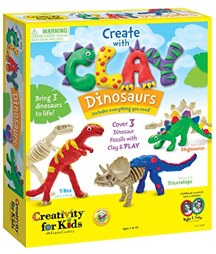 Product Image of the Creativity for Kids Create with Clay Dinosaurs - Build 3 Dinosaur Figures with...