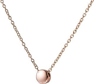 Amkaka Minimalist Tiny Dot Necklace Sterling Silver Circle Bead Pendant Necklaces