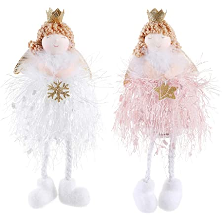 382 Festive 2 x Large Christmas Tree Hanging Gold Angels 19cm Tall Decorations