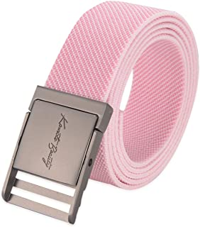 Western Vintage Elastic Belts for Women Designer Adjustable Cute Metal Buckle Plus Size Stretch Nylon Web Men Dress Belt (Pink)