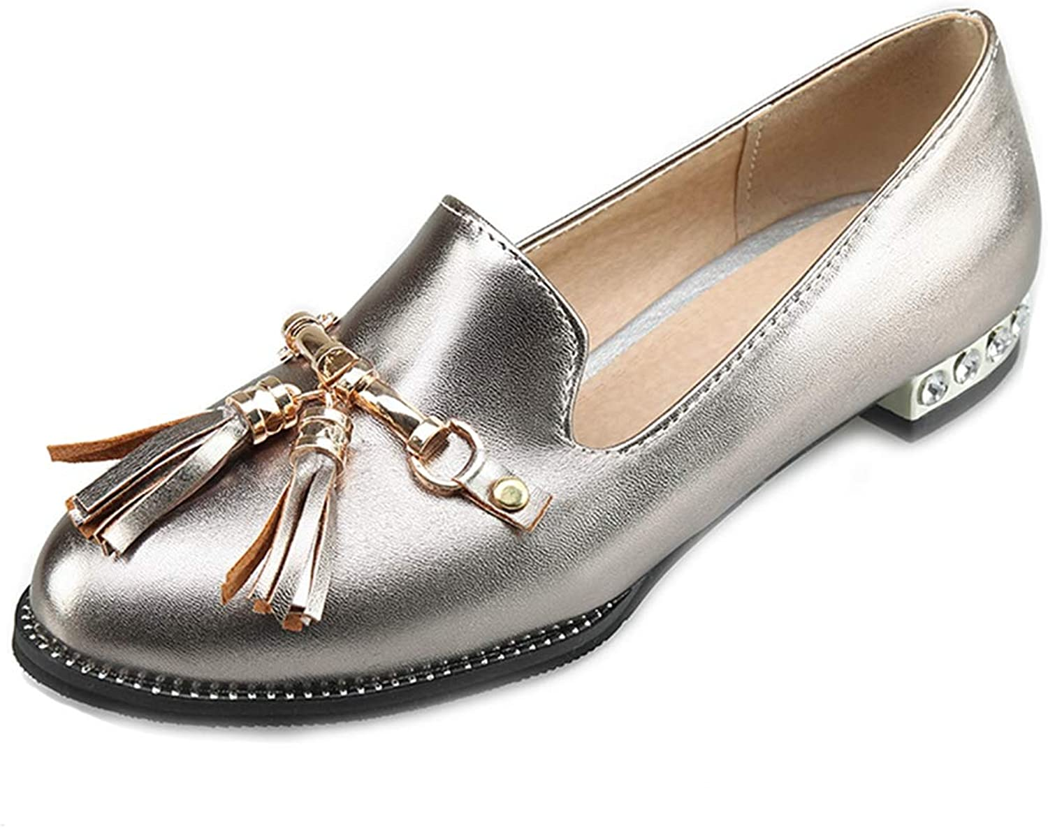 GIY Flat Tassel Oxford Loafers shoes for Women Round Toe Slip-On Studded Metallic Classic Dress Oxfords